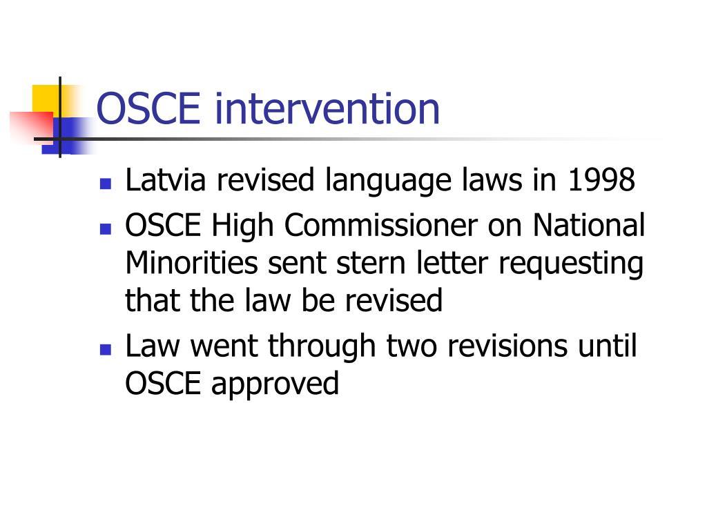 OSCE intervention