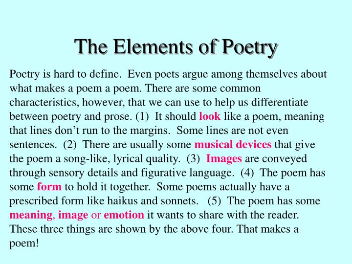 the elements of poetry n.