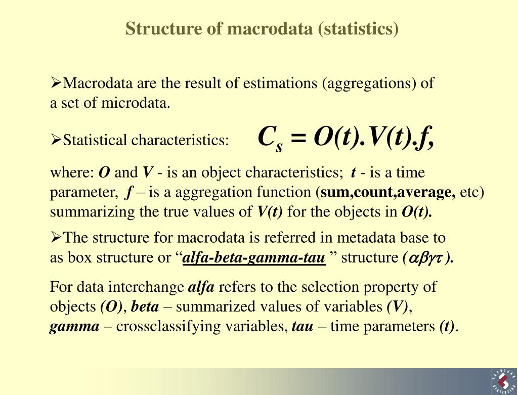 Structure of macrodata (statistics)
