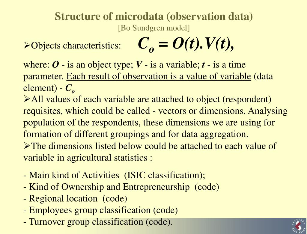 Structure of microdata (observation data)