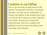 candidate to our aspnet