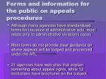 forms and information for the public on appeals procedures