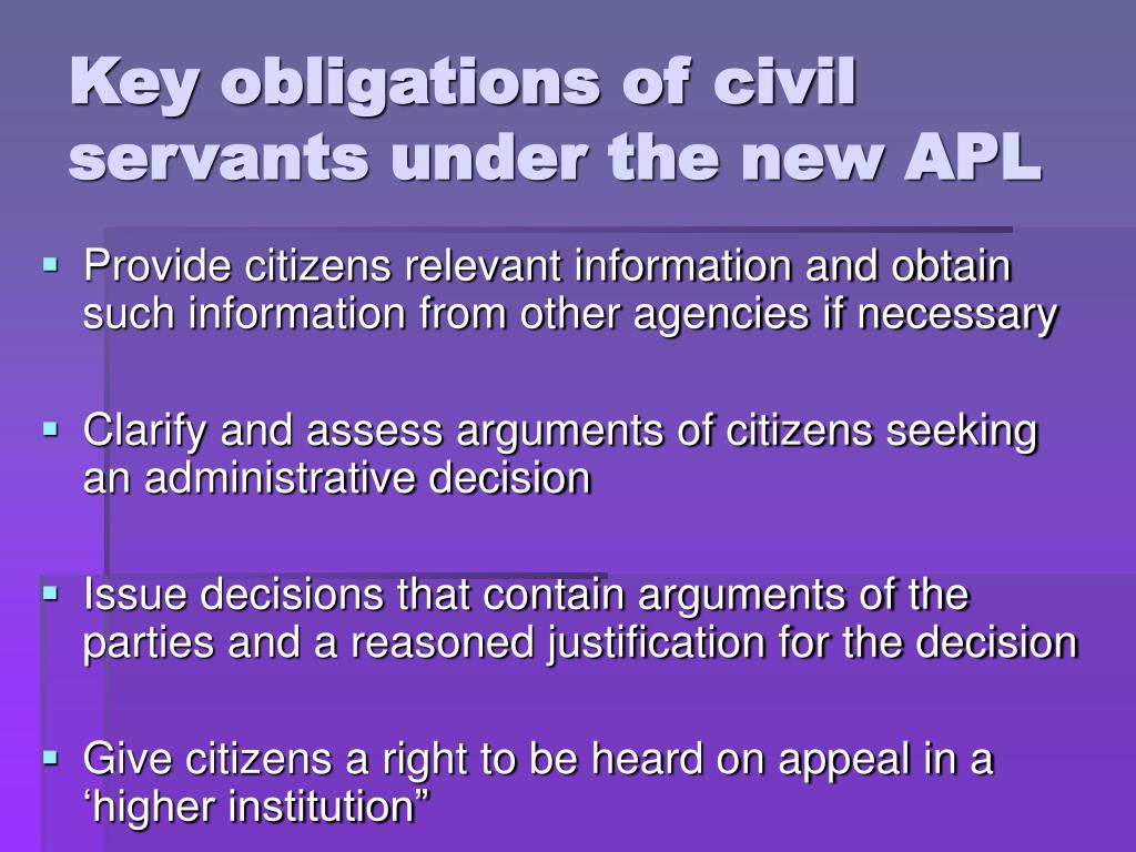 Key obligations of civil servants under the new APL