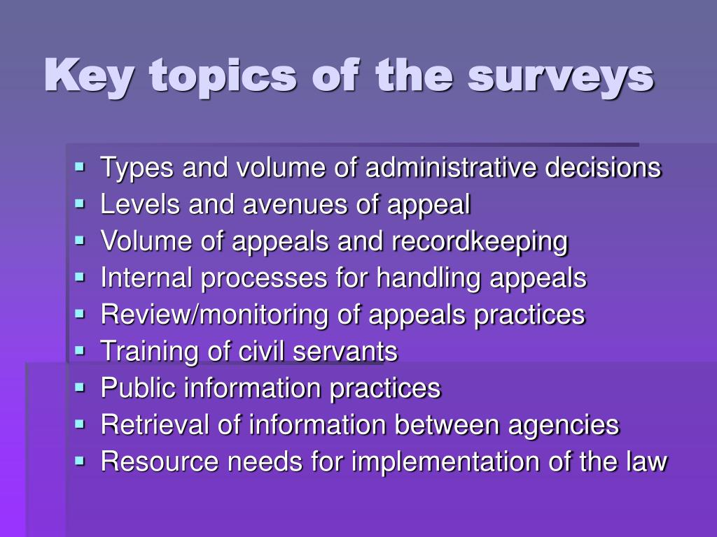 Key topics of the surveys