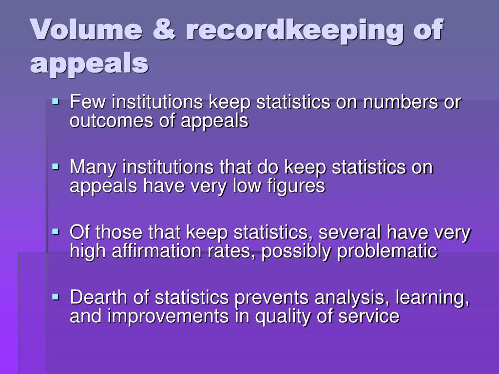 Volume & recordkeeping of appeals