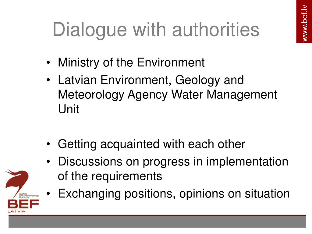 Dialogue with authorities