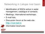 networking in lielupe river basin