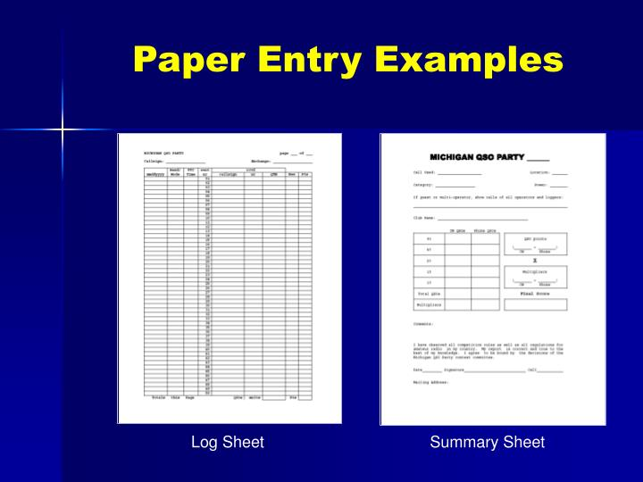 Paper Entry Examples