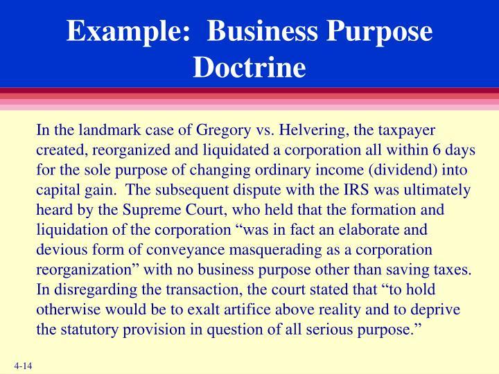 Example:  Business Purpose Doctrine