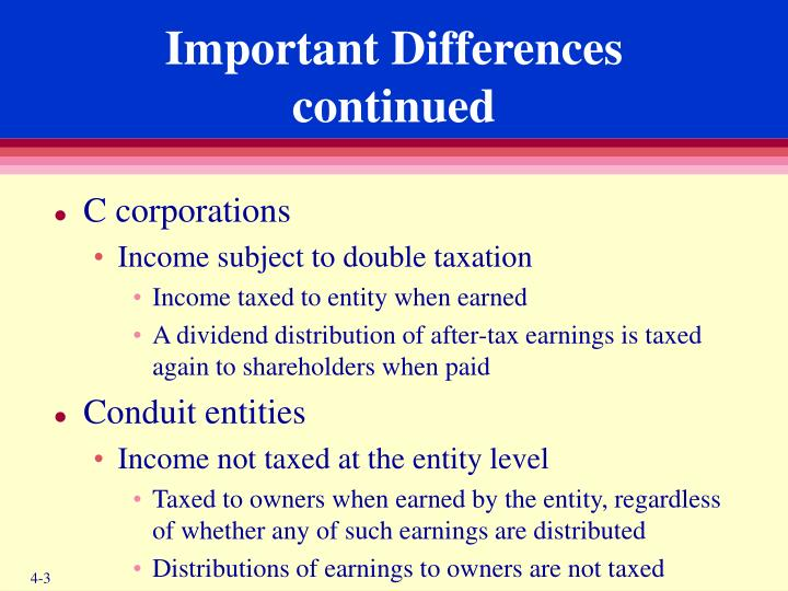 Important differences continued
