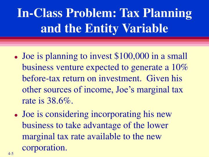 In-Class Problem: Tax Planning and the Entity Variable