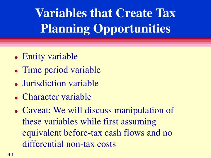 Variables that create tax planning opportunities