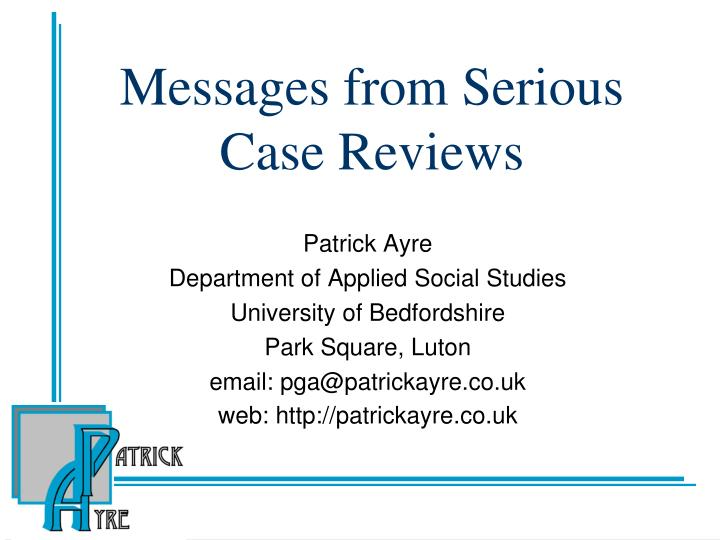 messages from serious case reviews n.