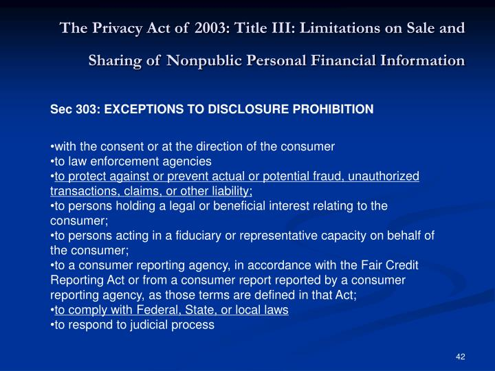 The Privacy Act of 2003: