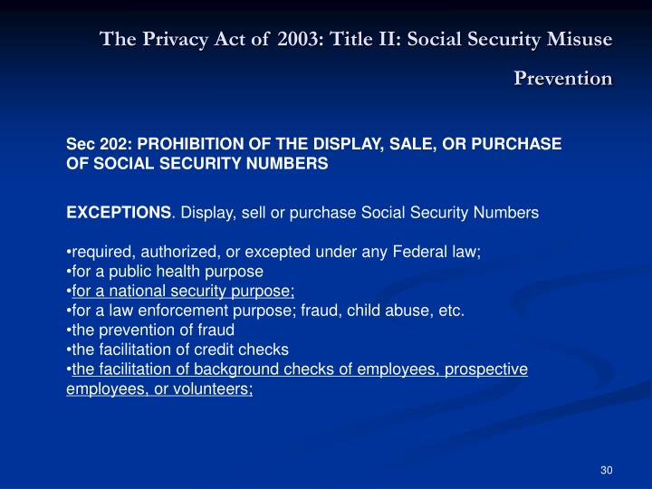 The Privacy Act of 2003: Title II: