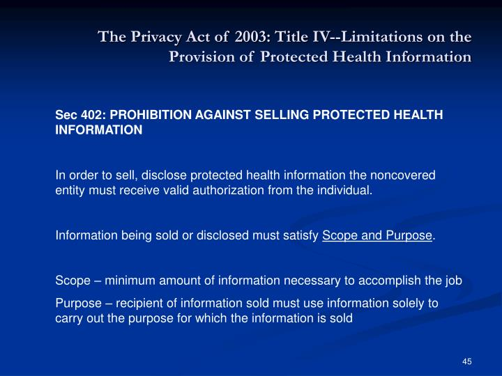 The Privacy Act of 2003: Title IV--Limitations on the Provision of Protected Health Information