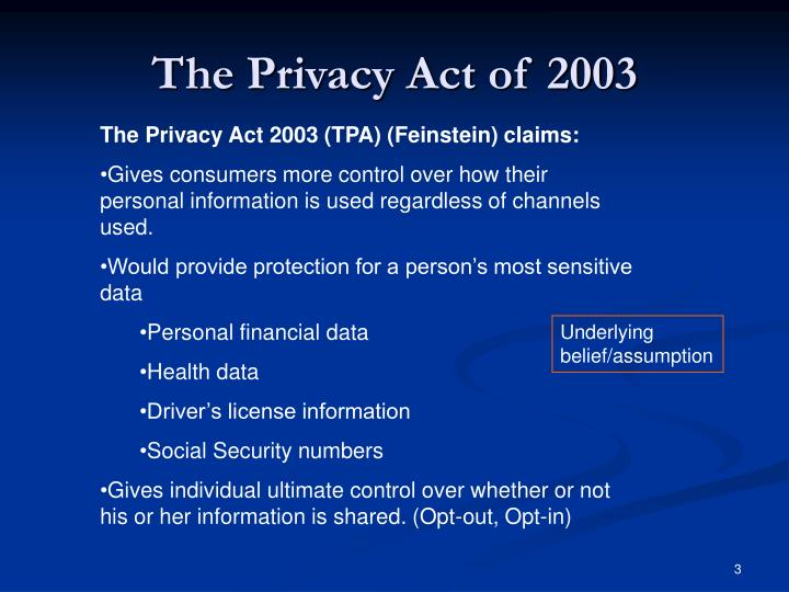 The privacy act of 20032
