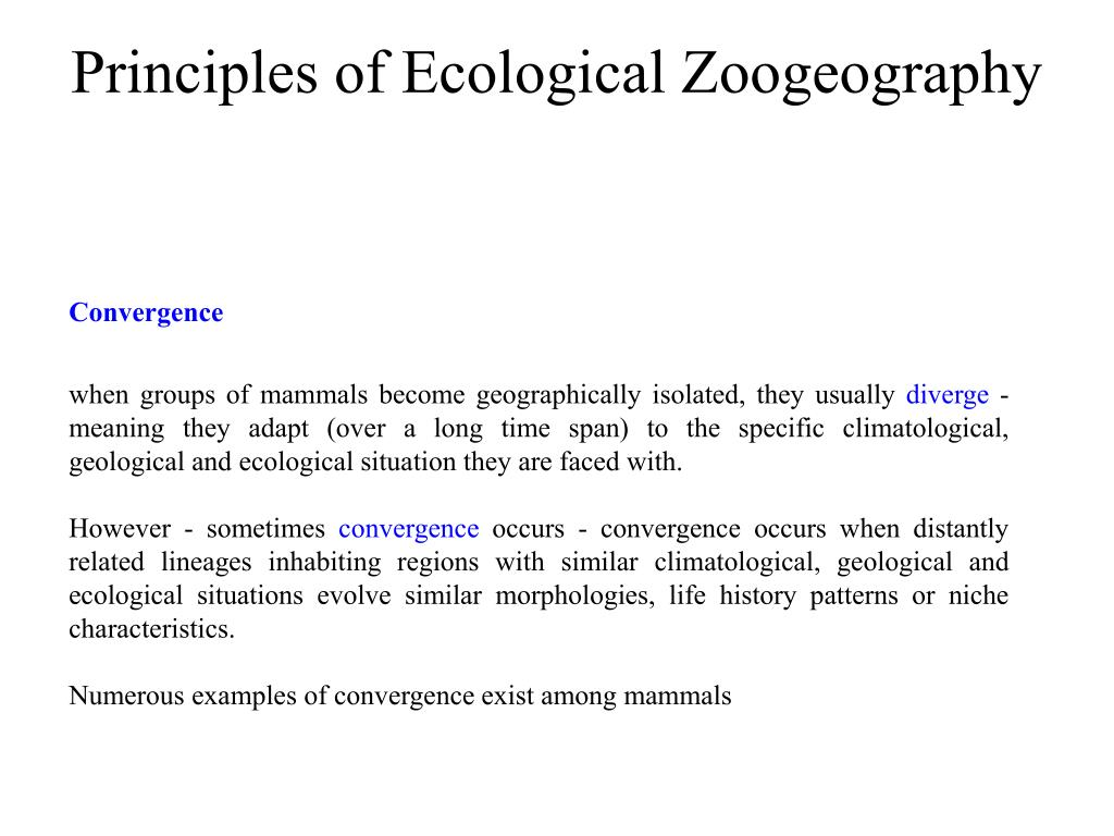Principles of Ecological Zoogeography
