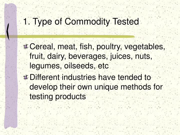 1. Type of Commodity Tested