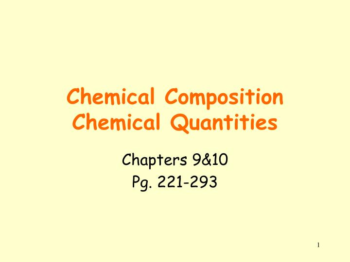 chemical composition chemical quantities n.