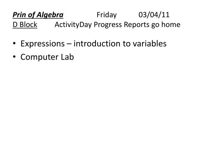 Prin of Algebra
