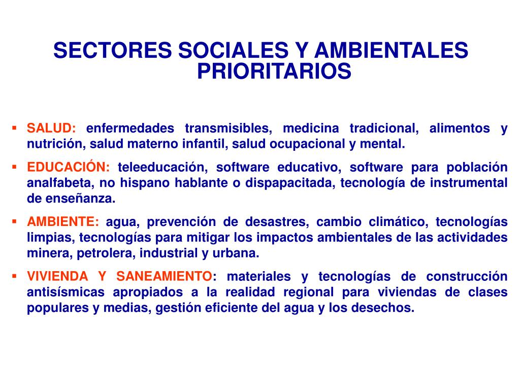 SECTORES SOCIALES Y AMBIENTALES PRIORITARIOS
