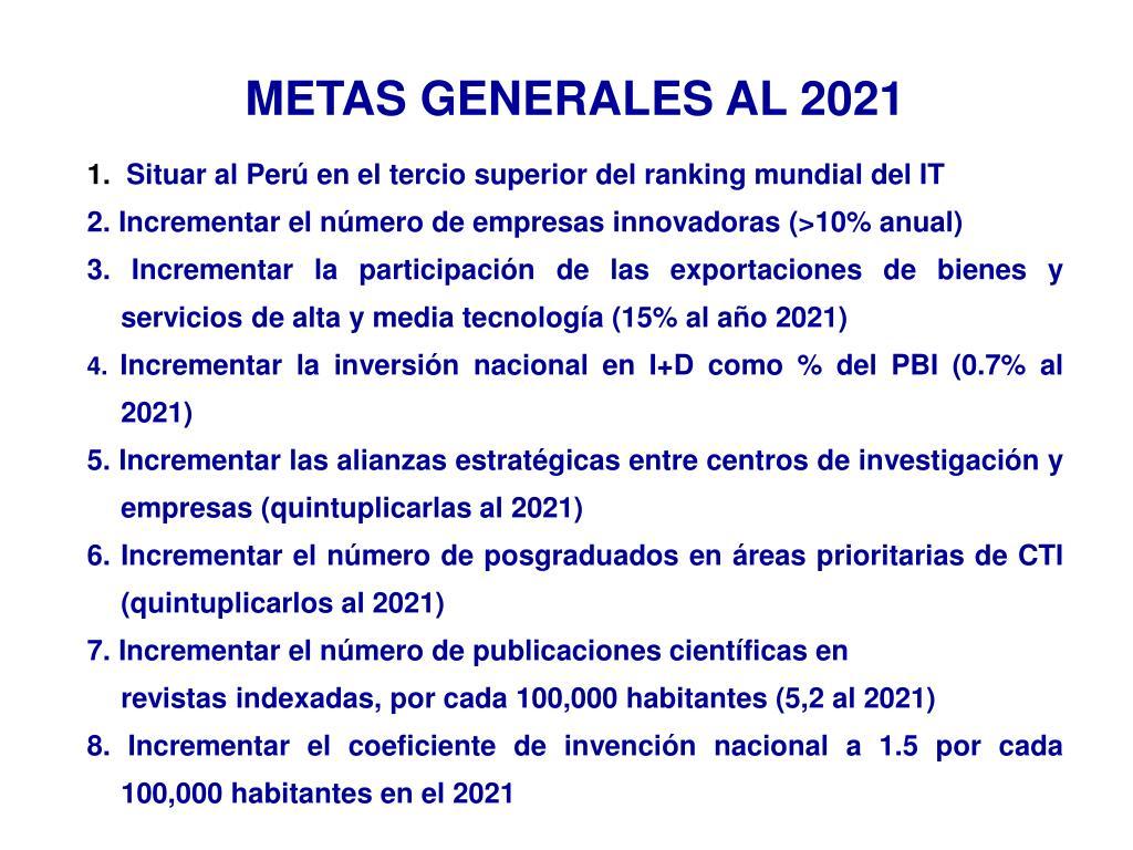 METAS GENERALES AL 2021