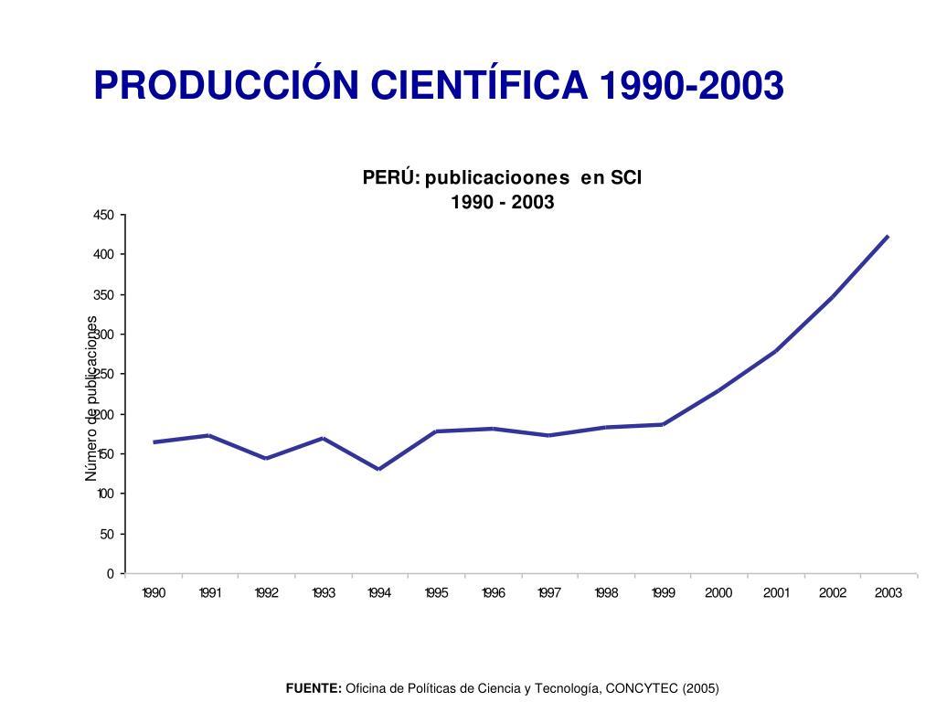 PRODUCCIÓN CIENTÍFICA 1990-2003