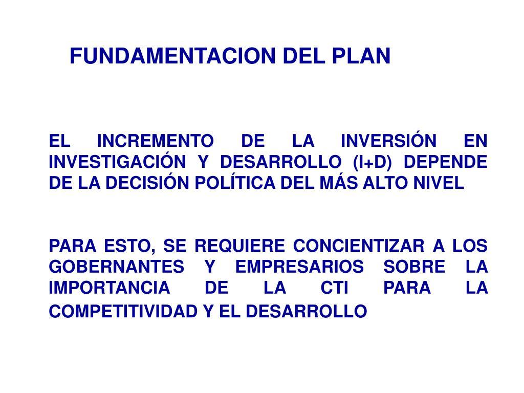 FUNDAMENTACION DEL PLAN