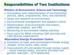 responsibilities of two institutions