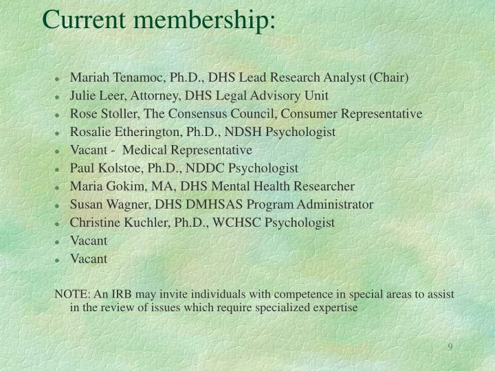 Current membership: