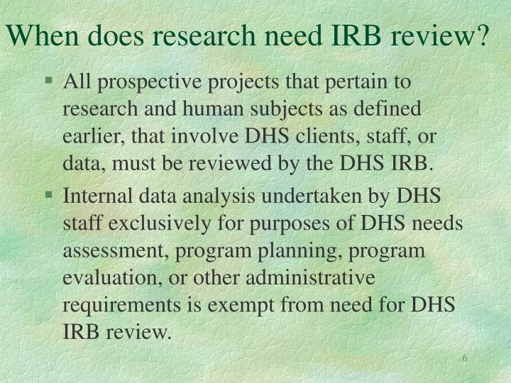 When does research need IRB review?
