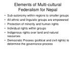 elements of multi cultural federalism for nepal