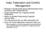 india federalism and conflict management