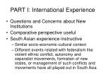 part i international experience