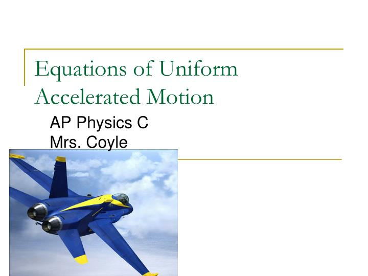 equations of uniform accelerated motion n.