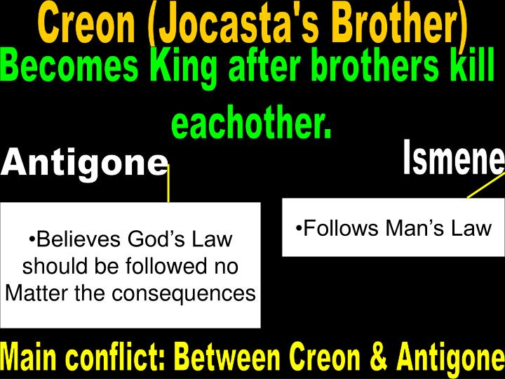 the conflict between antigone and creon in antigone by sophocles Conflicting values in antigone in the play antigone by sophocles, creon and antigone have distinct conflicting values creon's regard for the laws of the city causes him to abandon all other beliefs.