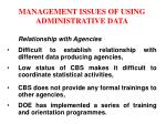 management issues of using administrative data11