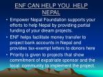 enf can help you help nepal