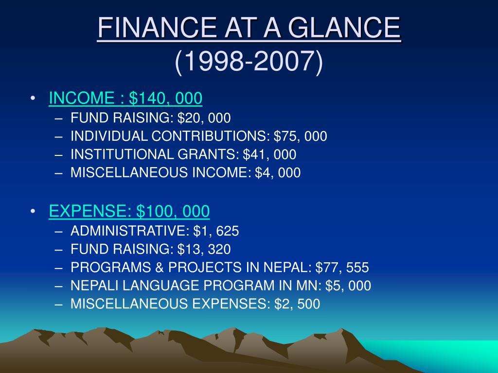 FINANCE AT A GLANCE