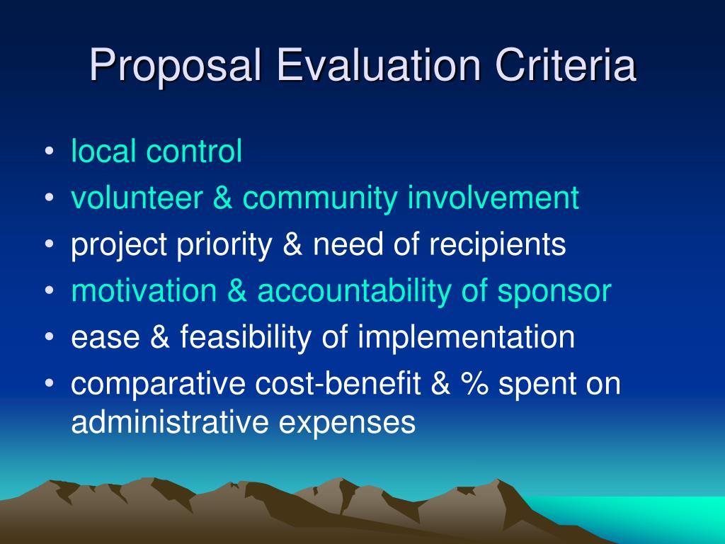 Proposal Evaluation Criteria
