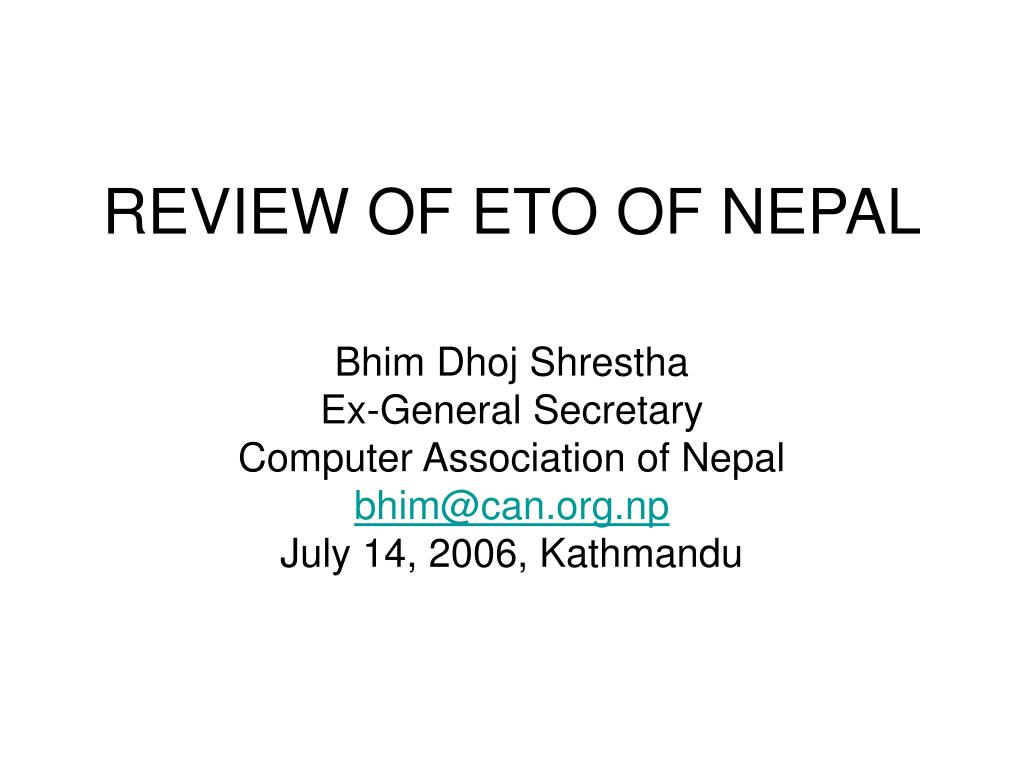 REVIEW OF ETO OF NEPAL