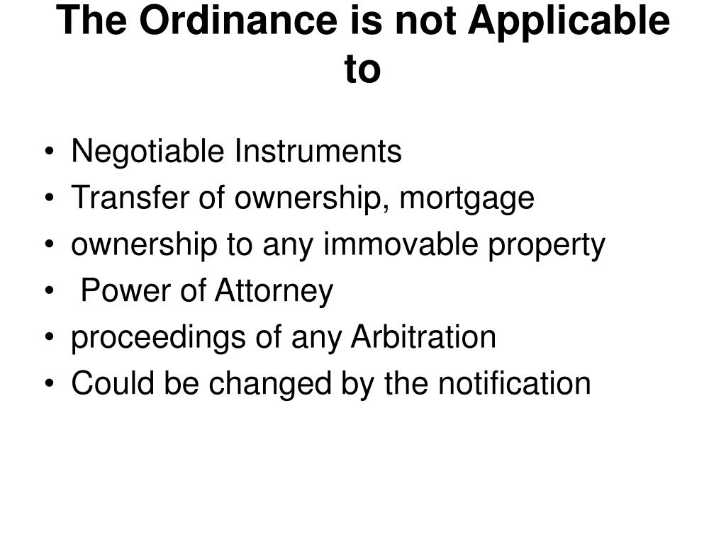 The Ordinance is not Applicable to