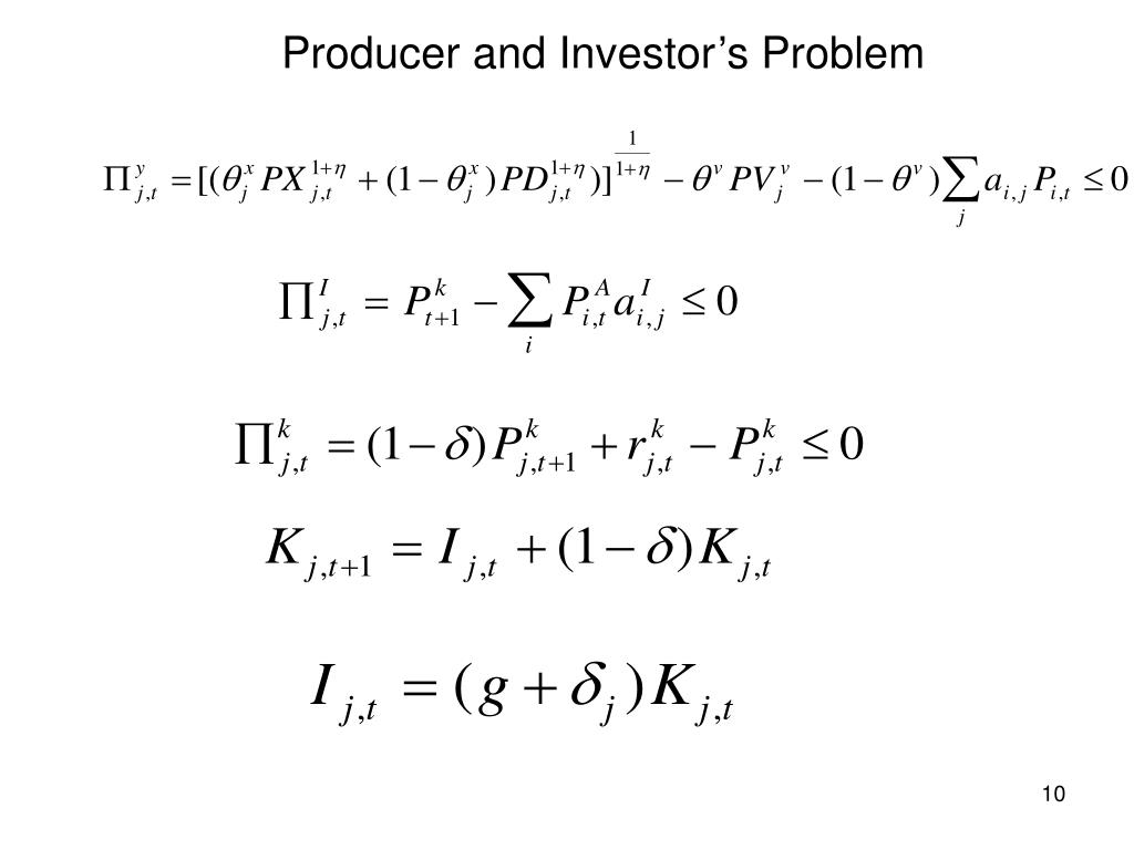 Producer and Investor's Problem