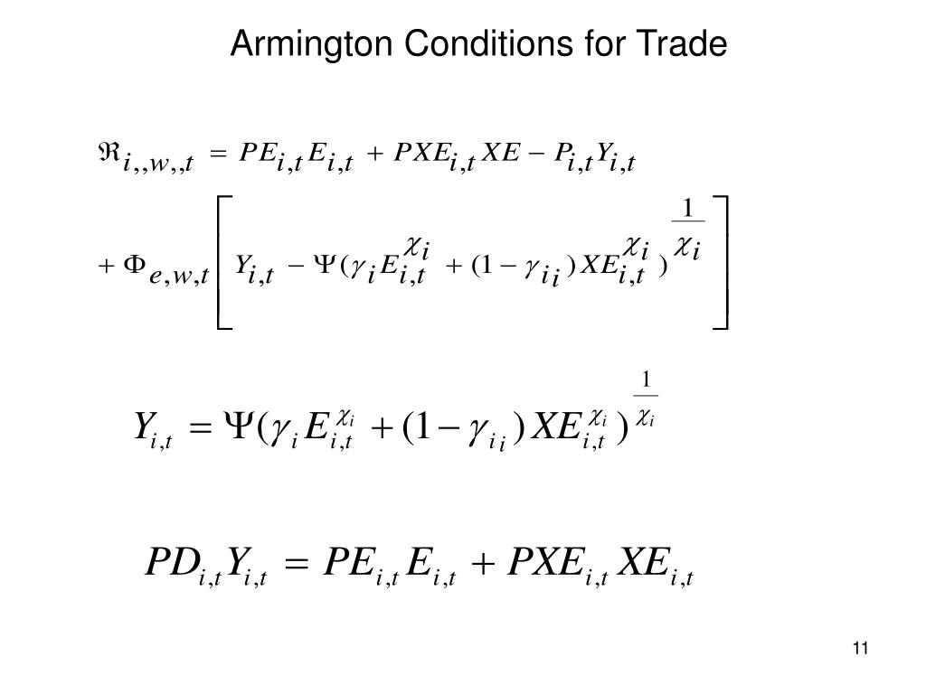 Armington Conditions for Trade