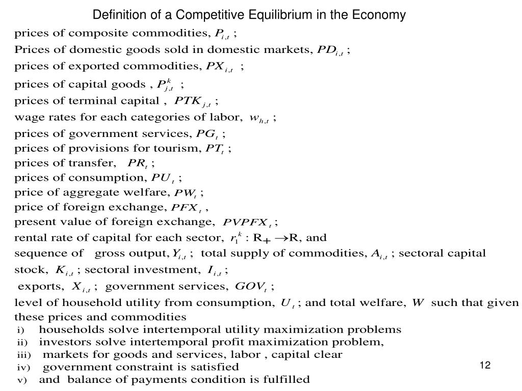 Definition of a Competitive Equilibrium in the Economy
