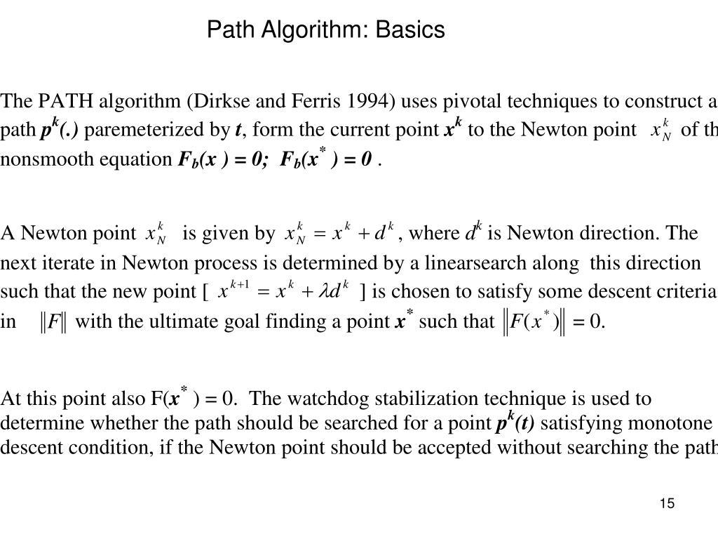 Path Algorithm: Basics