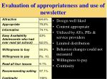 evaluation of appropriateness and use of newsletter