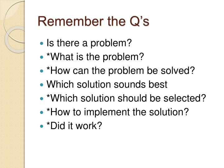 Remember the Q's