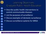 learning objectives graduate public health education